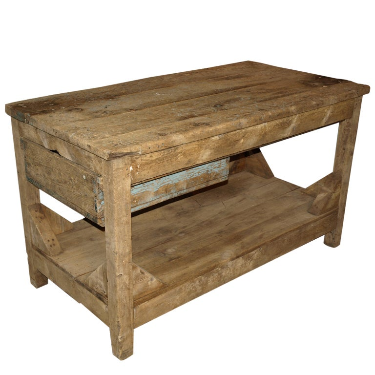 Antique Spanish Industrial Work Table In Bleached Pine At