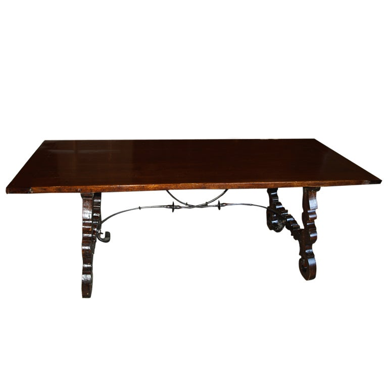 catalan trestle table in oak and iron at 1stdibs atlanta mid century modern furniture stores atlanta mid century modern furniture stores