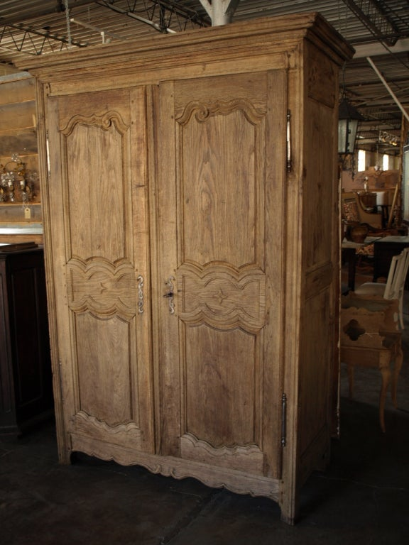 French Antique Country Style Armoire In Washed Oak At 1stdibs