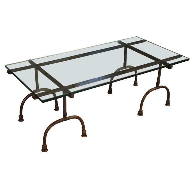 Italian Iron And Glass Coffee Table At 1stdibs