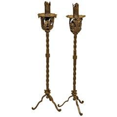Pair of Late 19th Century Italian Iron Candlesticks