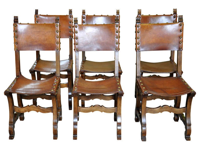 Set Of Six Spanish Renaissance Style Leather Dining Chairs