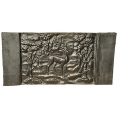 18th Century French Cast Iron Fireplace Back