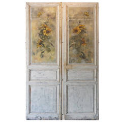 Pair of French Painted Sunflower Door Panels, circa 1903