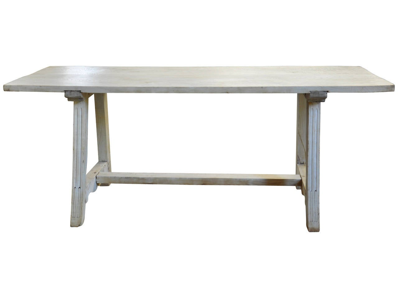 A very handsome early 19th century farm table, trestle table from Genoa, Italy. This wonderful table is constructed from bleached chestnut and is very sturdy and sound. A wonderful dining table or large writing table that can well used and loved.