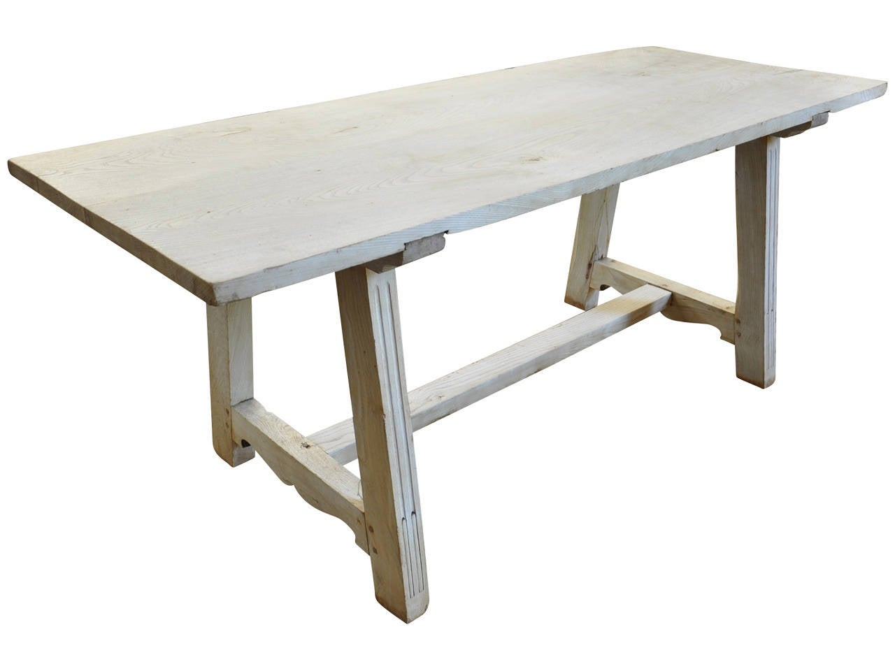Early 19th Century Italian Farm or Trestle Table in Bleached Chestnut In Good Condition For Sale In Atlanta, GA