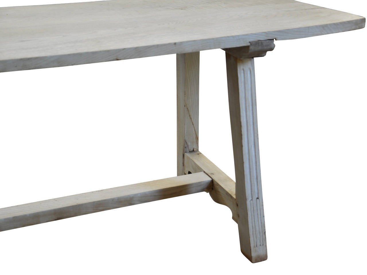 Early 19th Century Italian Farm or Trestle Table in Bleached Chestnut For Sale 2