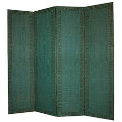 French Art Deco Period Emerald Green Silk Folding Screen or Paravant