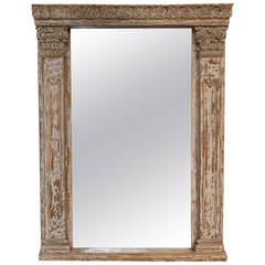 18th Century Spanish Altar Frame In Painted Wood Now As A Mirror