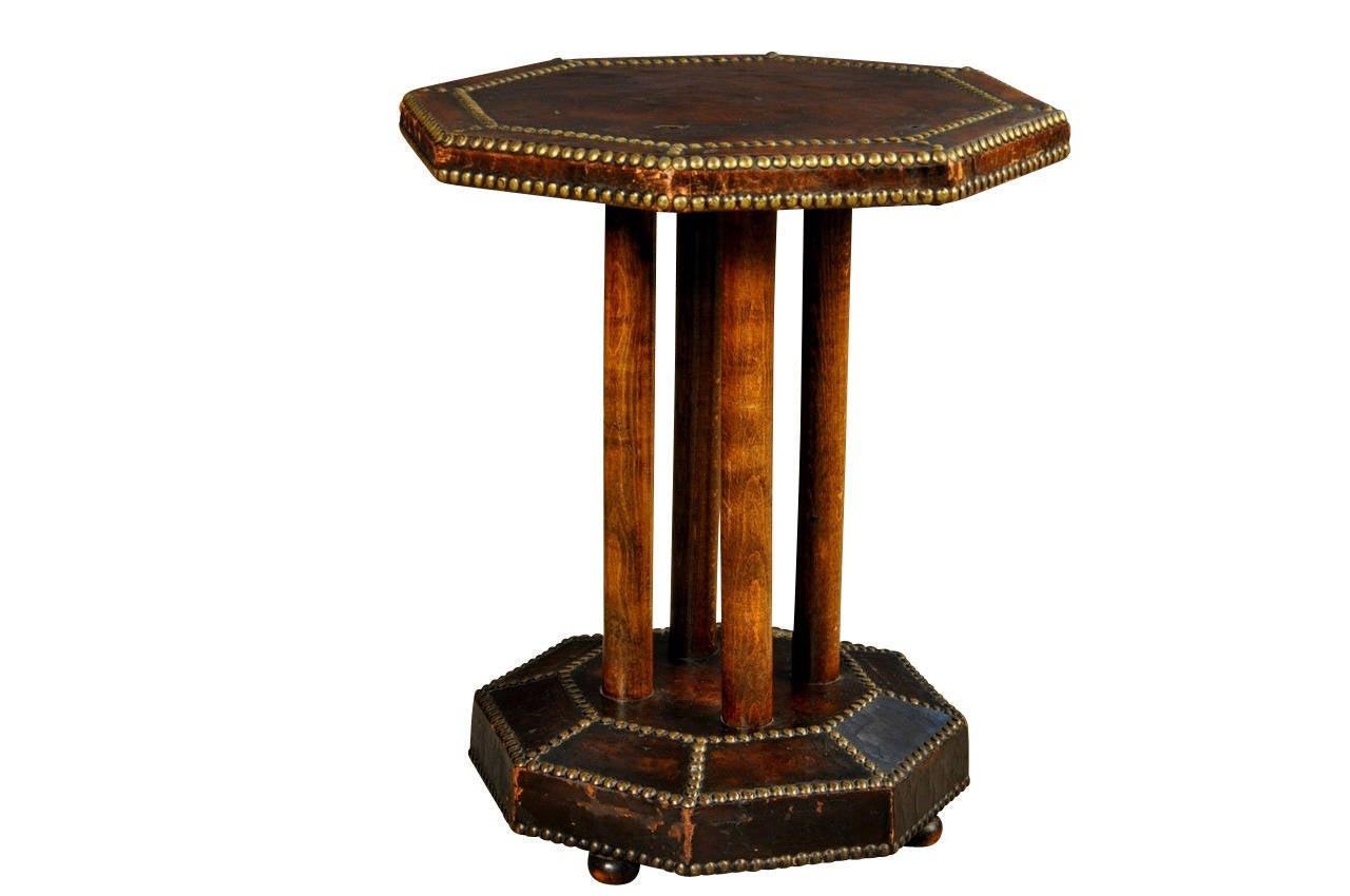 french art deco period cocktail table or gueridon clad in leather at 1stdibs. Black Bedroom Furniture Sets. Home Design Ideas