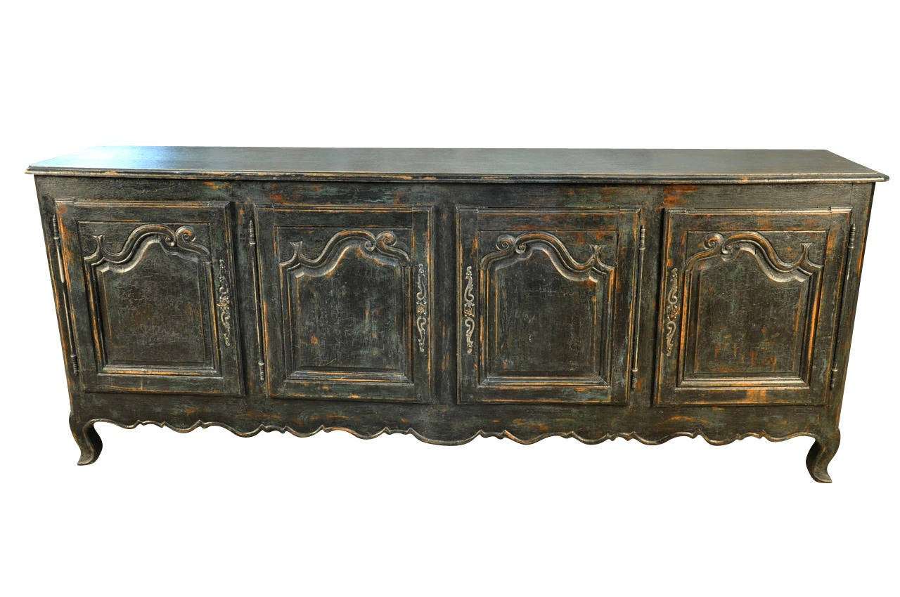 french 19th century long enfilade buffet in painted oak at 1stdibs. Black Bedroom Furniture Sets. Home Design Ideas