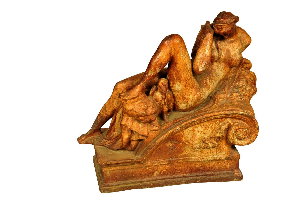 Pair of 19th Century Italian Statues in Polychromed Cast Iron In Good Condition For Sale In Atlanta, GA