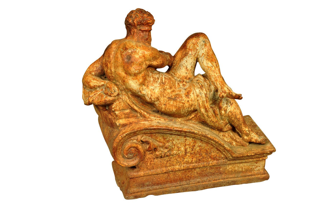 Pair of 19th Century Italian Statues in Polychromed Cast Iron For Sale 1