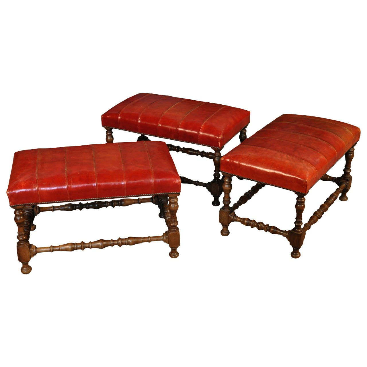 set of three louis xiii style benches or stools in walnut an