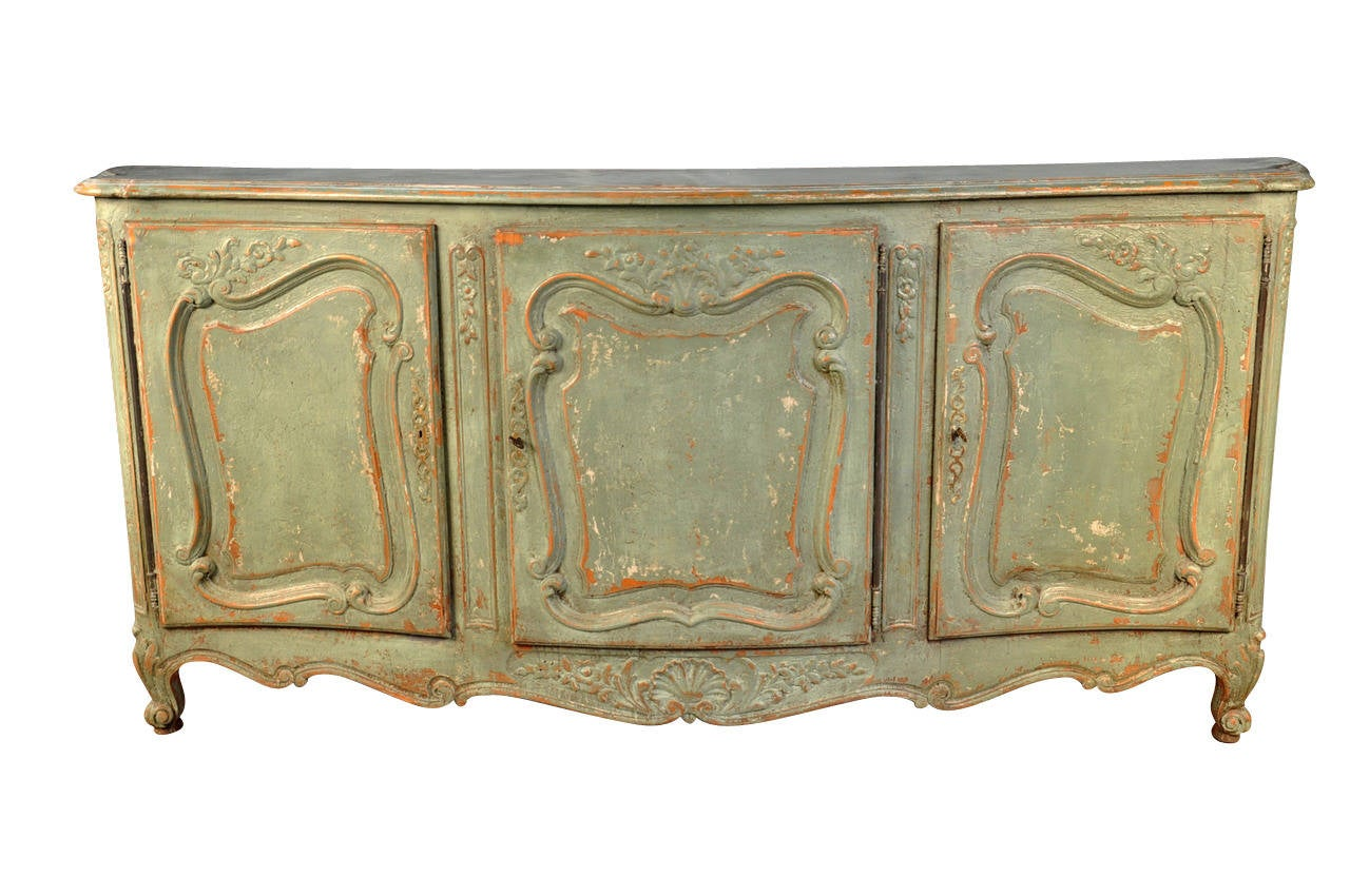 Early 20th Century French Provencal Enfilade Or Buffet In Painted Wood. Full resolution‎  photograph, nominally Width 1280 Height 850 pixels, photograph with #946437.