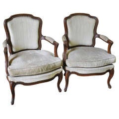 Pair of French Antique Louis XV Style Armchairs
