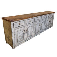 Spanish Antique 19th Century Large Painted Wood Buffet