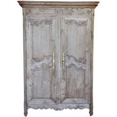 French Antique Mid 19th Century Armoire In Bleached Oak