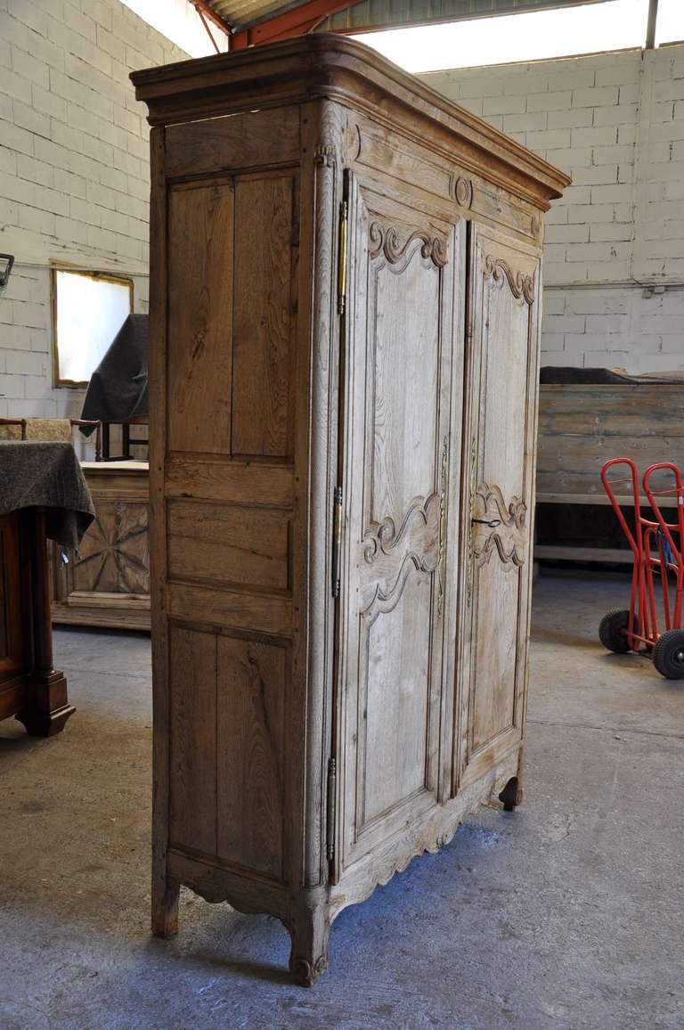 French Antique Mid 19th Century Armoire In Bleached Oak at ...