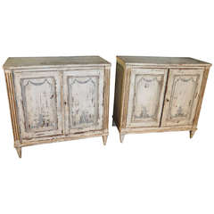 Early 19th Century Pair of Catalan Painted Buffets