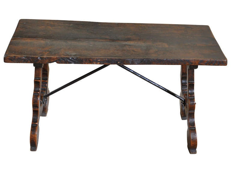 Spanish Mid 19th Century Coffee Table Bench In Walnut At 1stdibs