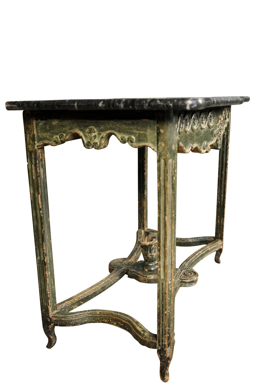 18th century painted marble top console table from for Painted foyer tables