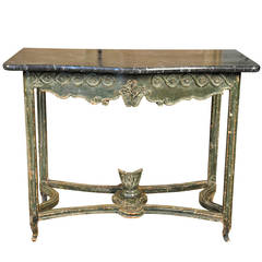 18th Century Painted Marble-Top Console Table from Portugal