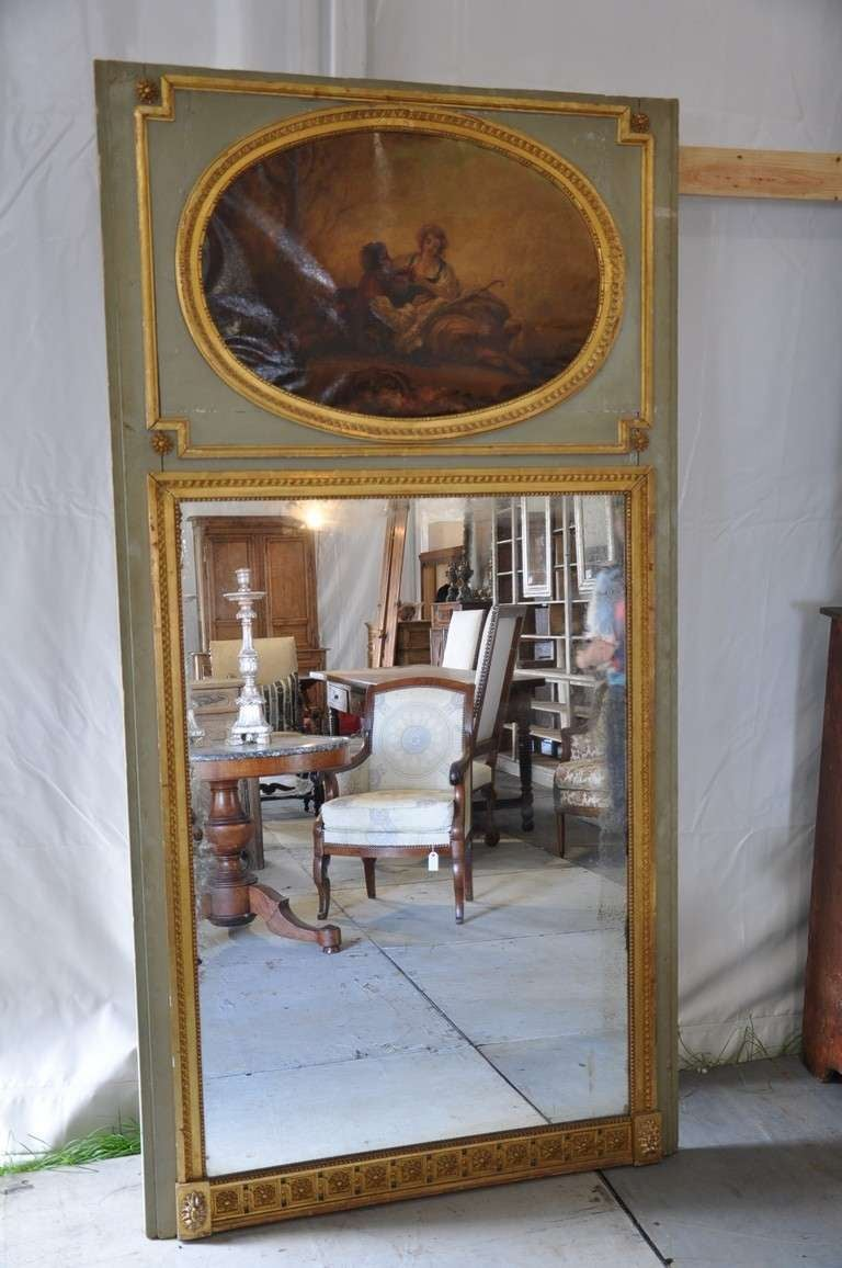 Mid 19th Century Louis Xvi Style Trumeau Mirror In Painted