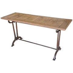 French Bistro Console Table in Iron and Oak