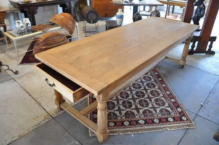 Early 20th Century French Farm Table With Drawers In Washed Oak 2