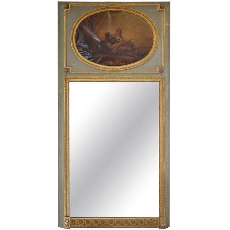 Mid 19th Century Louis XVI Style Trumeau Mirror in Painted and Gilded Wood