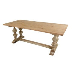 Spanish Antique  Farm Table in Painted and Washed Wood