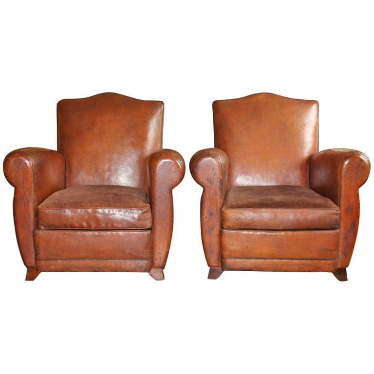 Pair Of Vintage French Leather Club Chairs At 1stdibs