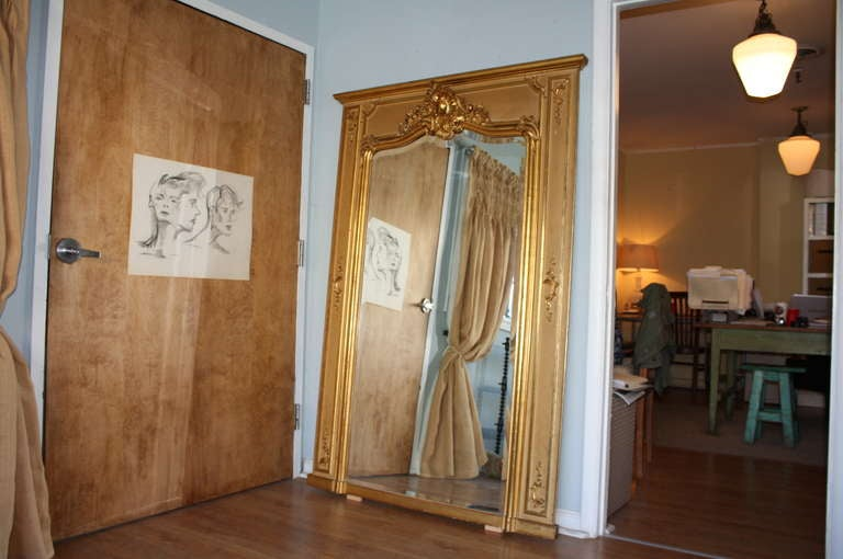 Early 20th Century Louis XV Style Trumeau Mirror in Giltwood 2