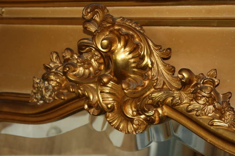 Early 20th Century Louis XV Style Trumeau Mirror in Giltwood 4