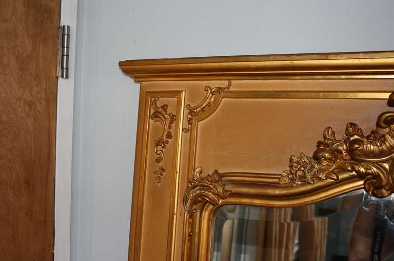 Early 20th Century Louis XV Style Trumeau Mirror in Giltwood 5