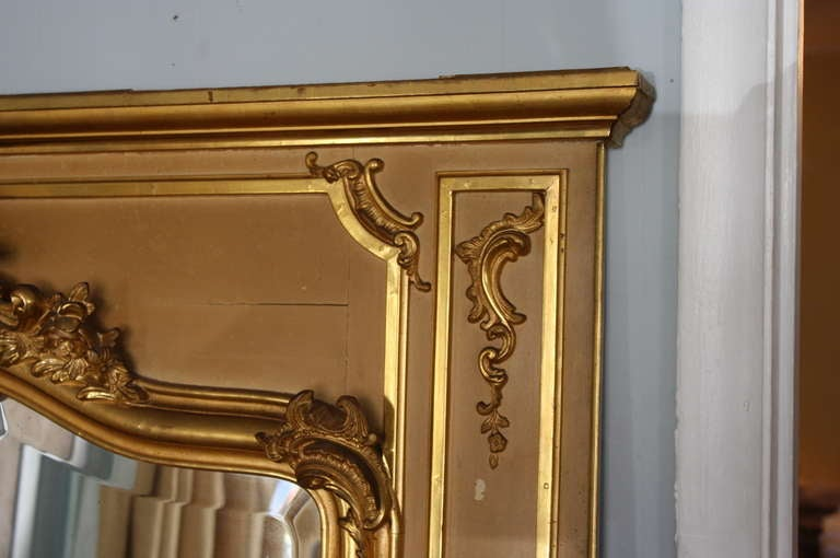 Early 20th Century Louis XV Style Trumeau Mirror in Giltwood 6