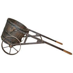 Late 19th Century French Grape Harvesting Basket with Iron Cart