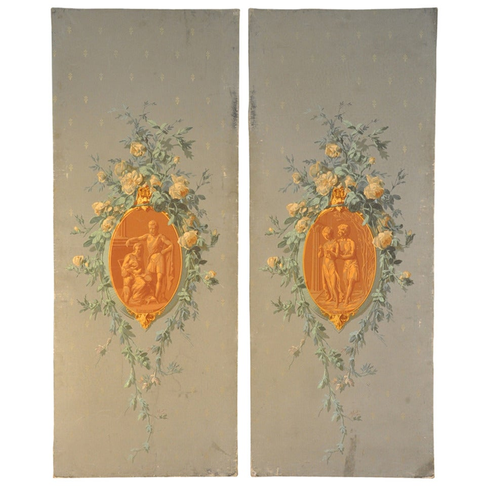 Pair of Late 19th Century Painted Decorative Italian Wall Panels