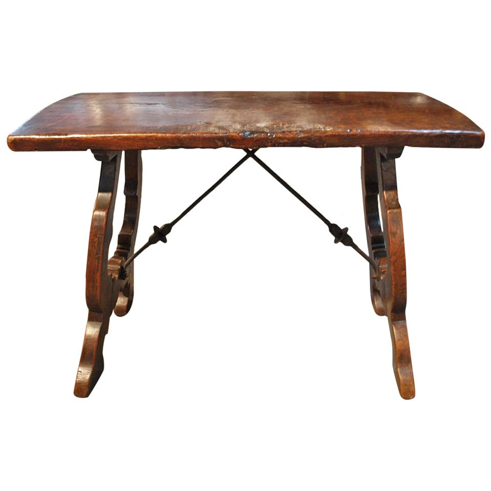 Early 19th Century Spanish Coffee Table Side Trestle Table In
