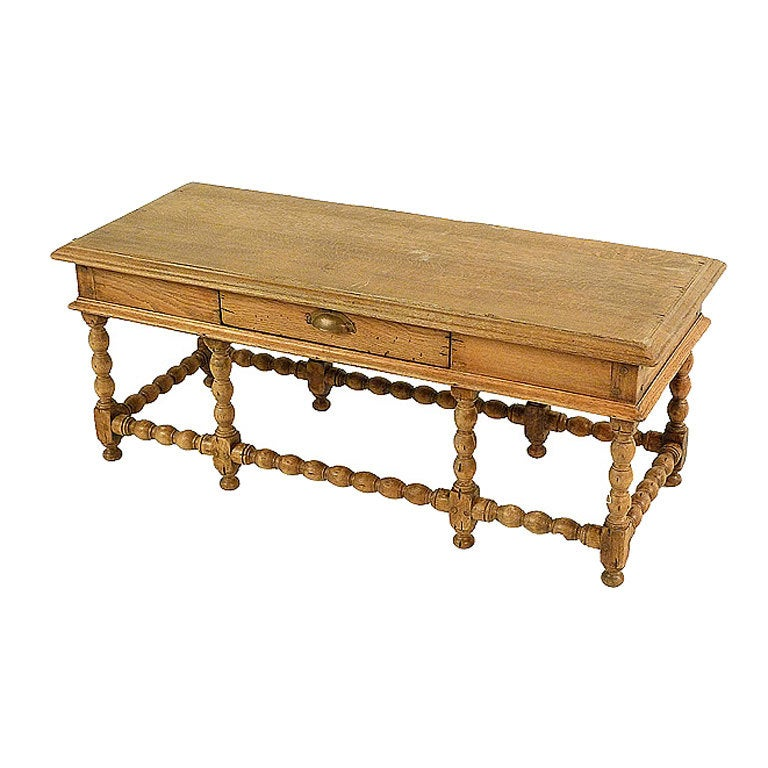 French Louis Xiii Style Coffee Table In Washed Oak At 1stdibs