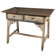 Spanish Primitive Farm Table - Work Table in Painted Wood