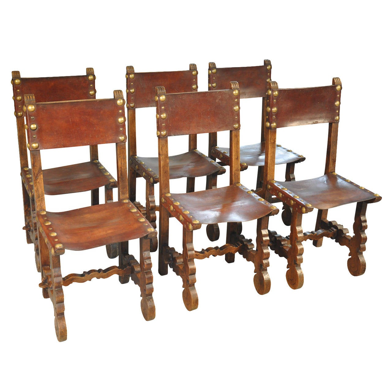 Merveilleux 19th Century Set Of 6 Spanish Leather Dining Chairs At 1stdibs