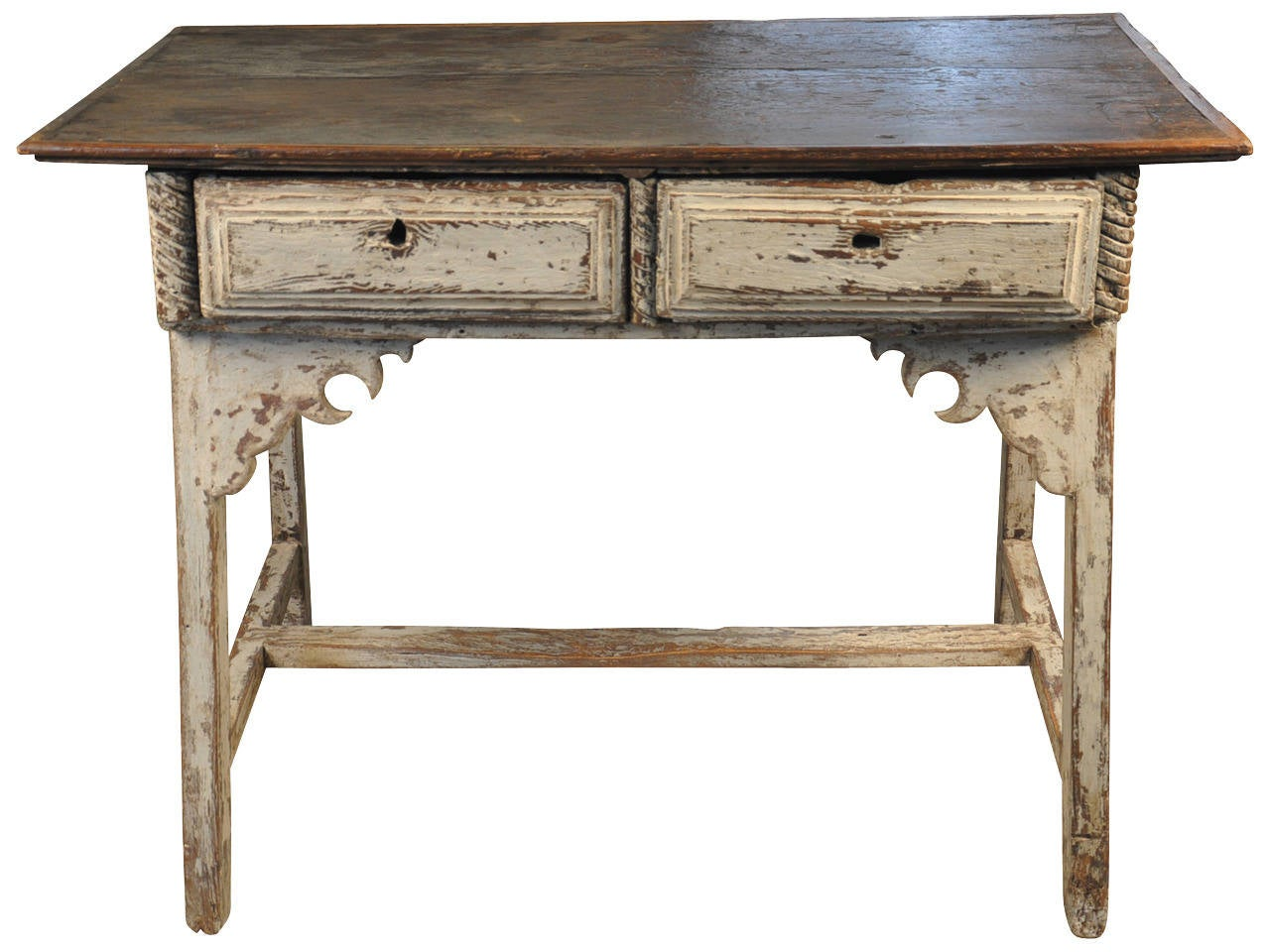 Spanish Primitive Farm Table Work Table In Painted Wood