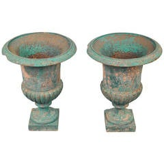 Pair of French Painted Cast Iron Urns