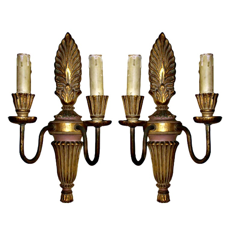 Mid 19th Pair of Directoire Style Sconces in Gilt Wood and Iron at ...