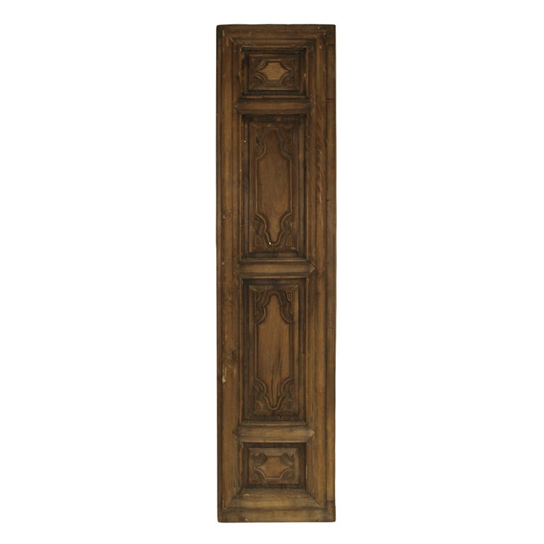 Early 19th Century Italian Panel in Carved Walnut and Oak For Sale