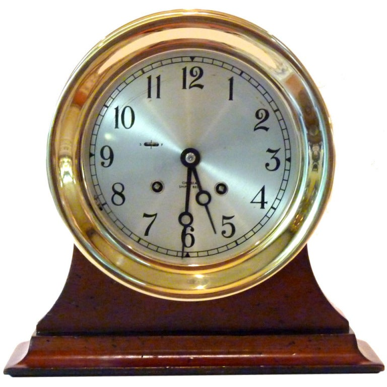 Rare Vintage Chelsea Ships Bell Clock Hinged Bezel 5 Stars