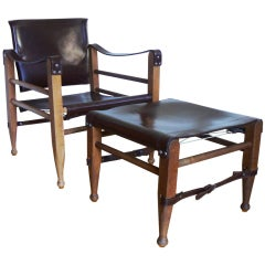 Danish Safari Chair and Ottoman