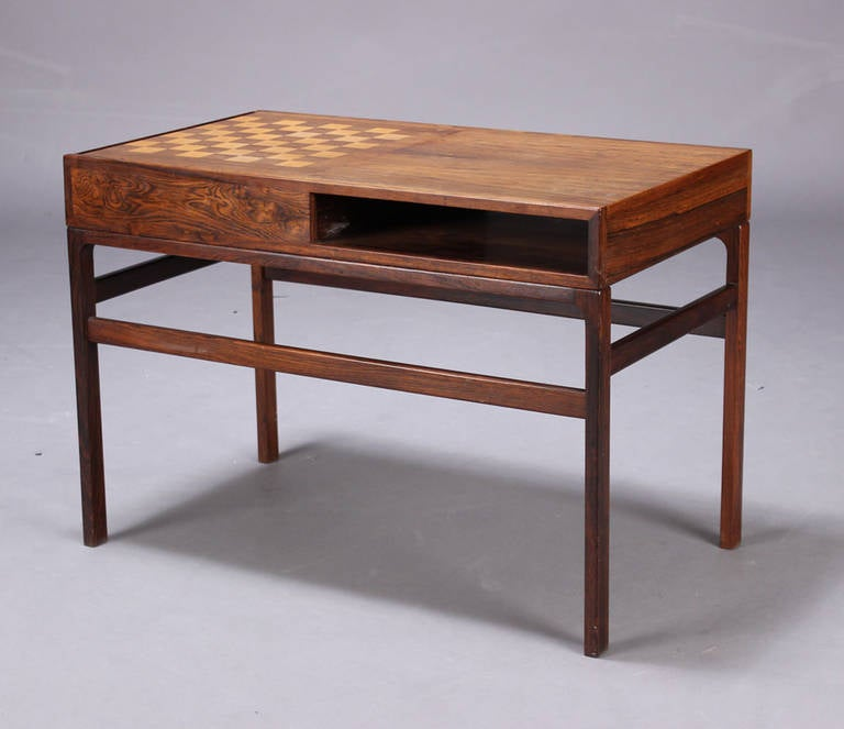 Kurt Ostervig 1970s Rosewood Game Table With Chess Board 2